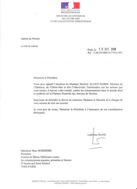 lettre de soutien de Michèle Alliot-Marie à la Flamme