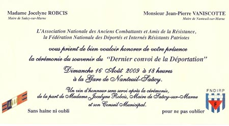 Invitation à la cérémonie du souvenir du