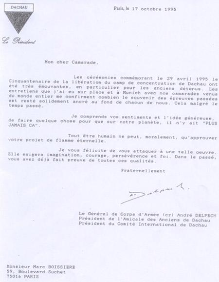 Letre du Général André DELPECH