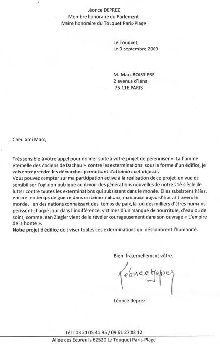 Echange entre Marc Boissière et Léonce Deprez au sujet d'un projet d'édifice dédié aux anciens de Dachau