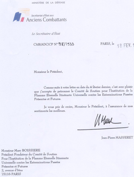 Lettre de Mr Masseret