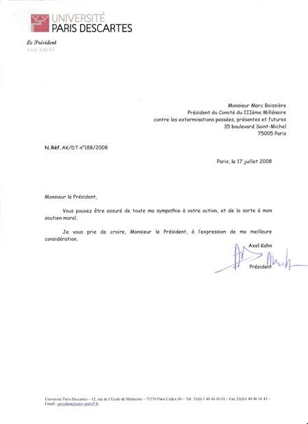 Lettre du soutien de Mr Axel KHAN, président de l'Université de Paris Descartes à la Flamme Eternelle des Anciens déportés de Dachau