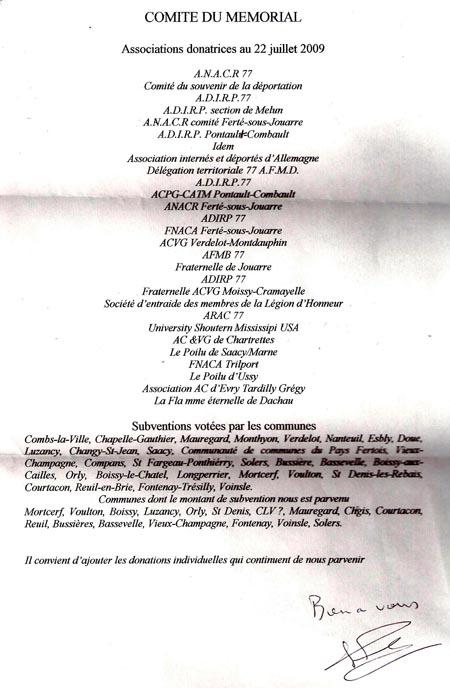 Liste des donateurs officiels pour le wagon du dernier convoi